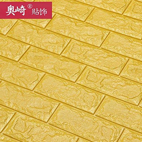 Autoadesivo creative TV parete di sfondo piastrelle sfondo modello 3D Wallpaper stickers adesivi parete soggiorno camera da letto decorazione sticker,Giallo ampia 70cmX77cm