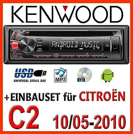 Citroën c2 10/2005-2010 kenwood kDC - 164 uR autoradio cD/mP3/uSB avec kit de montage