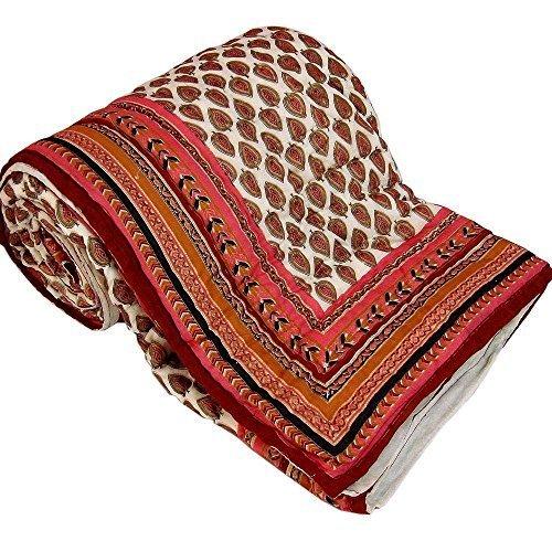 Manta de bloque tradicional mano Little India cama doble estampado blanco