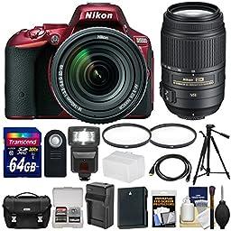Nikon D5500 Wi-Fi Digital SLR Camera & 18-140mm VR DX AF-S (Red) with 55-300mm VR Lens + 64GB Card + Case + Battery & Charger + Flash + Tripod + Kit
