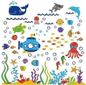 Under the Sea Submarine Nursery Wall Sticker Decals by Cherry Creek