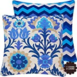 Chloe & Olive Cinco de Mayo Outdoor Azure Blue Outdoor Damask Floral and Chevron Pillow Cover, 20-Inch, Blue