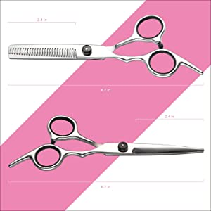 Hair Cutting Scissors Thinning Shears- Fcysy Professional Barber Sharp Hair Scissors Hairdressing Shears Kit with Haircut Accessories in Leather Case for Cutting Styling Hair for Women Men Pet- 7 Pcs (Color: Red-88889525)