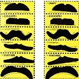 TRIXES Set mit 12 verschiedenen selbstklebende falsche Schnurrbärte für Karneval
