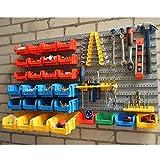 Wolf Wall Mount Storage Bins & Panel Rack Set 43 Piece Garage Warehouse Parts Tool Organizer Board