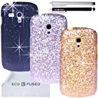 ECO-FUSED 8 pieces Bling Sparkle Hard Cover Case Bundle for Samsung Galaxy S III MINI I8190 (T-Mobile,AT&T)/3 Sparkle Hard Cover Cases (Silver/Black/Gold)/2 Stylus (Black/Silver)/2 Screen Protectors - ECO-FUSED Microfiber Cleaning Cloth included
