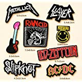 Metallica, AC DC, Slayer, Nirvana, Led Zeppelin, Slipknot, Rancid, and Guita Rock Band Patch (8 Pcs Heavy Metal Punk Rock Applique Embroidered Patches - Rock Band Iron on Patches)