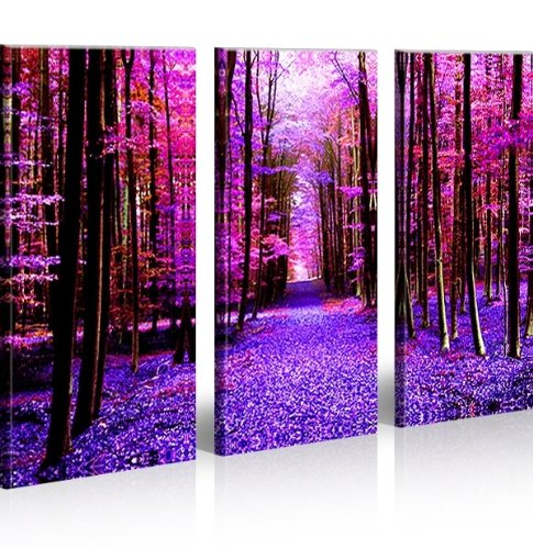 kaufen run 3 bilder b ume wald natur surreal pop art bilder auf leinwand fertig gerahmt. Black Bedroom Furniture Sets. Home Design Ideas