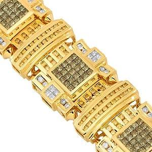 14K Yellow Gold Mens Diamond Bracelet with Blue and Yellow Diamonds 16.00 Ctw
