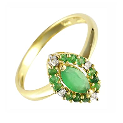 Ivy Gems 9ct Yellow Gold Fancy Marquise Cut Emerald and Diamond Ring