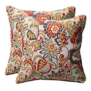 Modern Floral Pillows : Amazon.com: Pillow Perfect Decorative Multicolored Modern Floral Square Toss Pillows, 2-Pack ...