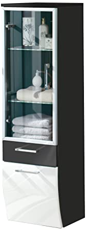 Posseik 5814 99 Tall Hanging Cabinet, Anthracite/ High Gloss White