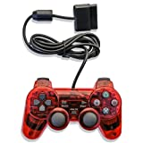 ElementDigital PS2 Controller Wired Game Gaming, Transparent Red Wired Game Pad Gamepad Console Joypad Controller Joysticks for PlayStation 2 (Color: Transparent Red PS2 Controller)