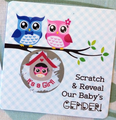 Gender Reveal Sex Scratch Off Cards Square - Scratch Off Gender Reveal In A Whimsical Owl Design 25 Cards (Pink~ Girl)