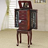 Jewelry Armoire Queen Anne Style Cherry Finish