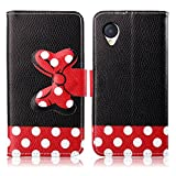 Fashion Youth Series Cute Design Black Red Bow Bowknot Polka Dot Wallet Flip Case Folio PU Leather Stand Cover with Card Slots for LG Nexus 5 + Free Lovely Gift