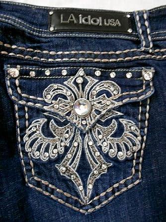 LA Idol Women Plus Bootcut Jeans Crystal Fleur De Lis Stretch in Dark