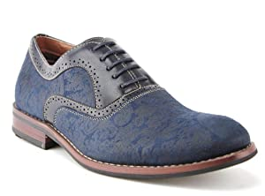 Ferro Aldo Men's 19513AL Vintage Paisley Design Lace Up Oxford Dress Shoes, Blue, 9