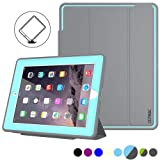 iPad 2/3/ 4 Case, SEYMAC Stock 3 Layer Heavy Duty Drop Proof Smart Protective Cover with Auto Sleep/Wake Magnetic PU Leather Stand Features for iPad 2/3/4 Generation (Gray/Sky Blue) (Color: Gray/Skyblue)