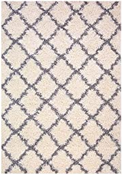 Trellis Ivory (Off-white) Grey Shag Area Rug Rugs Shaggy Collection (Ivory (Off-white), 5\'x7\')