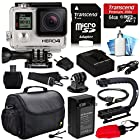 GoPro HERO4 Hero 4 Black Edition 4K Action Camera Camcorder with 64GB Must Have Accessories Bundle includes MicroSD Card + Battery + Charger + Large Case + Stabilizer Handle Grip + HDMI + MicroSD Reader + Dust Cleaning Care Kit (CHDHX-401)