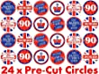 24 x 38mm Pre Cut Queens 90th 90 Birthday Years Union Jack UK Street Party Elizabeth II Celebrations Fairy Muffin Cup Cake Toppers Decoration Edible Rice Wafer Paper