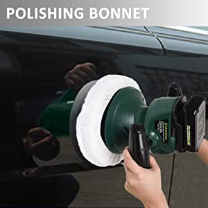 HAWKFORCE 10-Inch Cordless Car Polisher Car Buffer Electric Polisher Automotive Waxer with 6 Bonnets to Buff, Polish, Smooth and Finish Ideal for Polishing Home Appliance, Ceramic, Car&Boat Detailing
