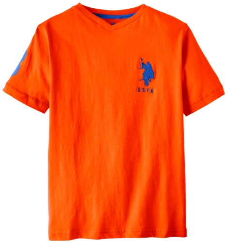 U.S. Polo Assn. Big Boys' Short Sleeve Solid V-Neck T-Shirt With Large Pony, Orange Popsicle, 14/16
