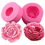 Fewo 3D Peony Flower Silicone Soap Molds Candle Molds Peonies Fimo Clay Mould Cake Decorating Silicone Jello Sugar Chocolate Fondant Molds (Set of 2)