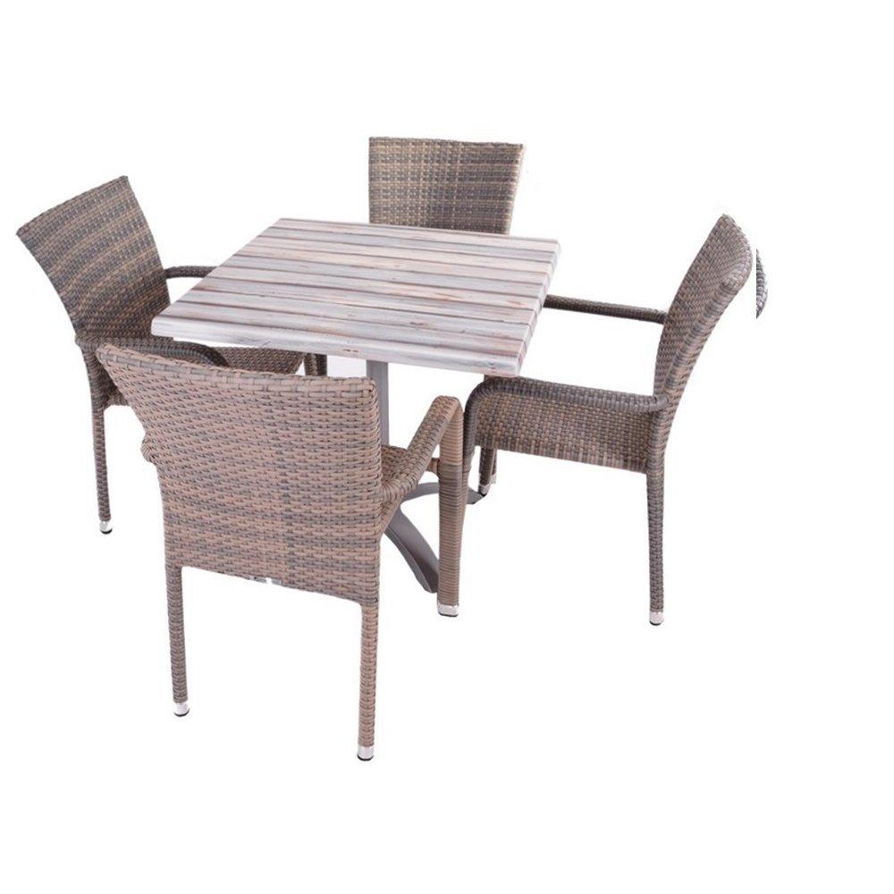 JUSThome Manila Gartenmöbel Sitzgruppe Gartengarnitur Set 4x Stuhl + 1x Tisch aus Technorattan Beige