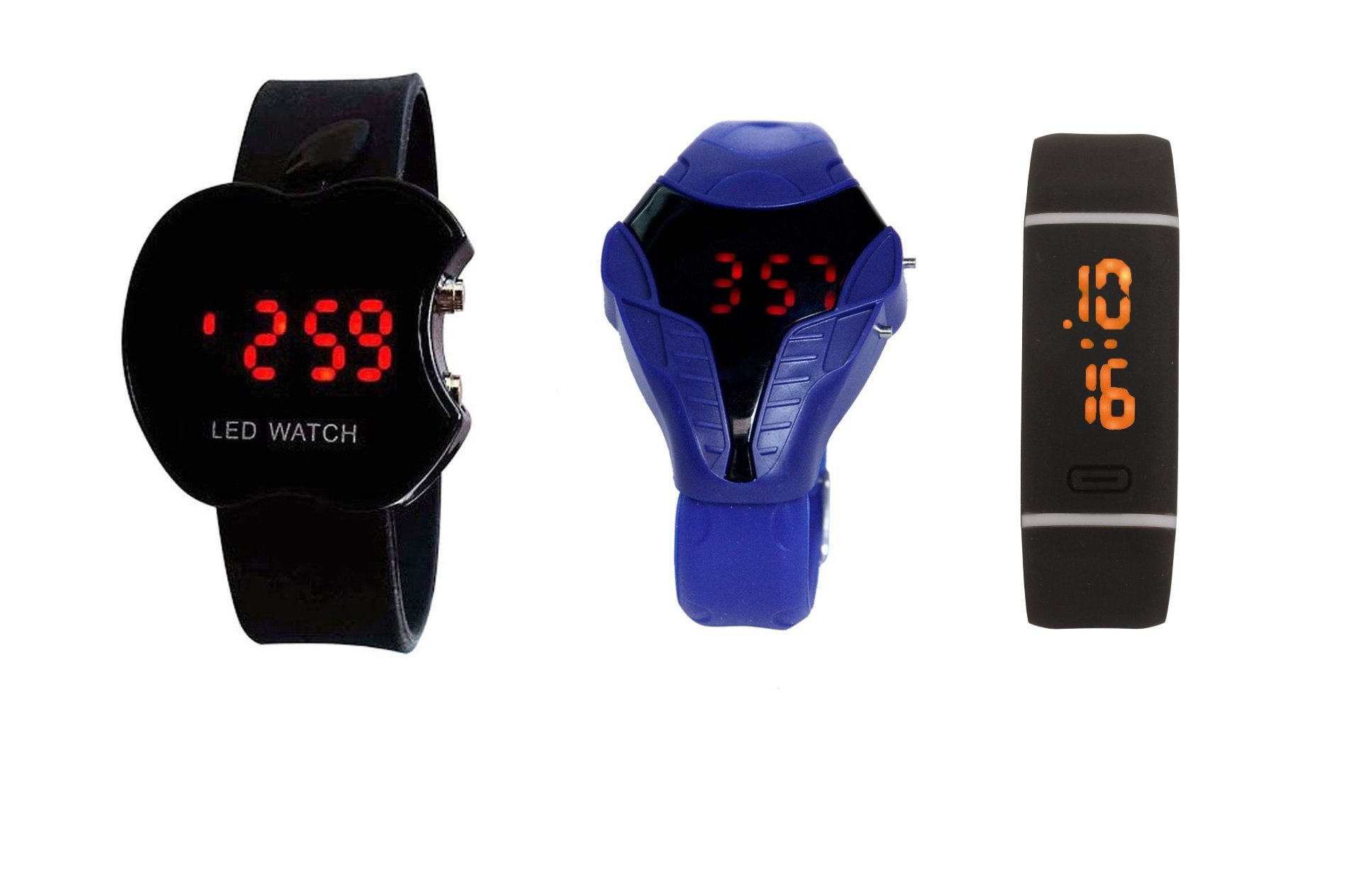 COSMIC KIDS LED WATCH BLACK APPLE LED +BLUE LED COBRA WITH DOUBLE LINE BAND BLK