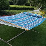 Prime Garden® Quilted Fabric Hammock w/ Pillow Blue