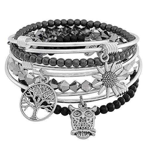 Silver Harmony Silver Expandable Kona Stack Bracelet Set
