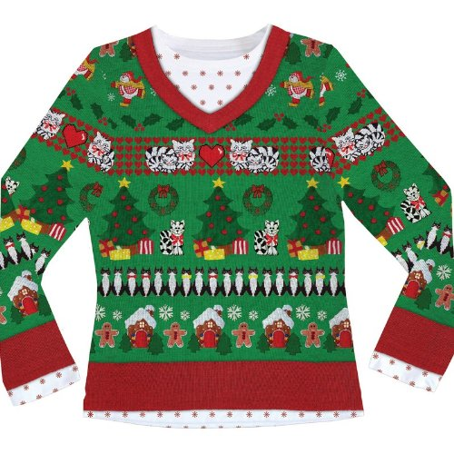 Ladies Ugly Christmas Sweater Printed Shirt