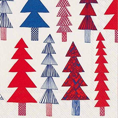 Marimekko finlandese KUUSIKOSSA blue fir, motivo: alberi di Natale tradizionale in legno di pino-Tovaglioli di carta, confezione da 20