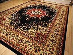 Black Traditional Rugs 5x7 Persian Rugs for Living Room Area Rugs 5x8 Clearance Black Rugs for Bedroom (Medium 5\'x8\')