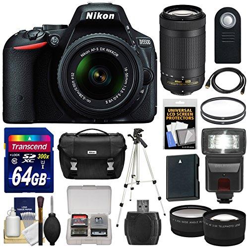 Nikon-D5500-Wi-Fi-Digital-SLR-Camera-18-55mm-VR-DX-II-AF-S-Black-with-70-300mm-AF-P-Lens-64GB-Card-Case-Flash-Battery-Tripod-TeleWide-Lens-Kit