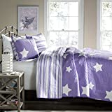 Lush Decor Star 3-Piece Quilt Set, King, Purple