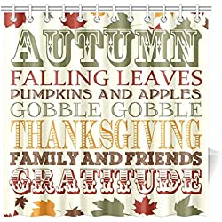 "Fall Leave Thanksgiving Waterproof Fabric Bathroom & Bath Shower Curtain with 12 Hooks 72""(w) x 72""(h),Bathroom Decor,One Side Printing"