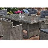 Gartentisch Destiny Luna 200 x 100 cm Grau Geflechttisch Esstisch Tisch Polyrattan Wintergarten