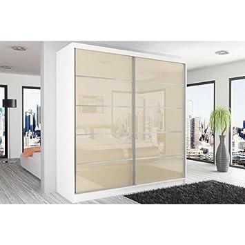 JUSThome Beauty XI Schwebeturenschrank Kleiderschrank Garderobenschrank 218x200x60 cm Farbe: Weiß Matt / Perle Hochglanz