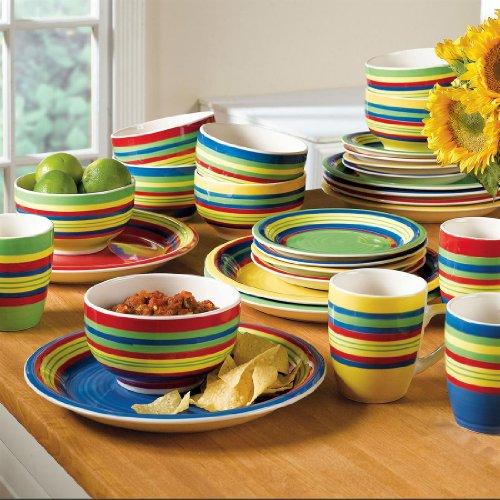 Brylanehome Santa Fe Hand-Painted Striped Stoneware Dinnerware