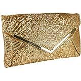 Girly Handbags - Pochette de soirée brillante dorée et métal or