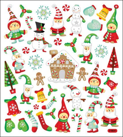 Tattoo King SK129MC-1290 Multicolored Sticker, Glitter Holiday Magic