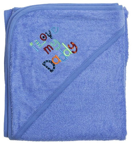 "Extra Large 40""x30"" Absorbent Hooded Towel, I Love My Daddy (Medium Blue), Frenchie Mini Couture - 1"
