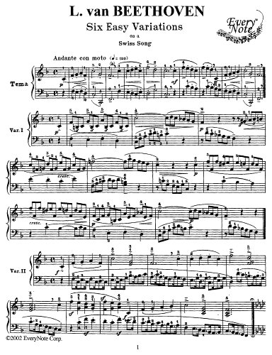 Beethoven 6 Easy Variations on a Swiss Song for Piano: Instantly download and print sheet music