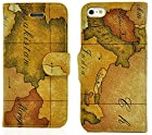myLife Brown {World Map Design} Faux Leather (Card, Cash and ID Holder + Magnetic Closing) Slim Wallet for the iPhone 5C Smartphone by Apple (External Textured Synthetic Leather with Magnetic Clip + Internal Secure Snap In Hard Rubberized Bumper Holder)