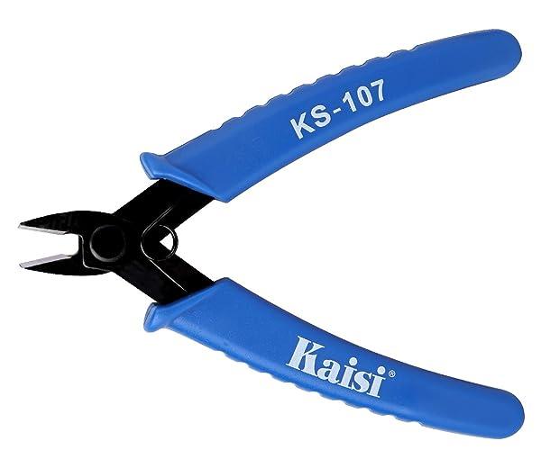 Kaisi KS-107 Flush Cutter Internal Spring Precision Micro Shear Flush Cutters Wire Cutting Pliers Side Cutters Pliers 5-Inch, Blue