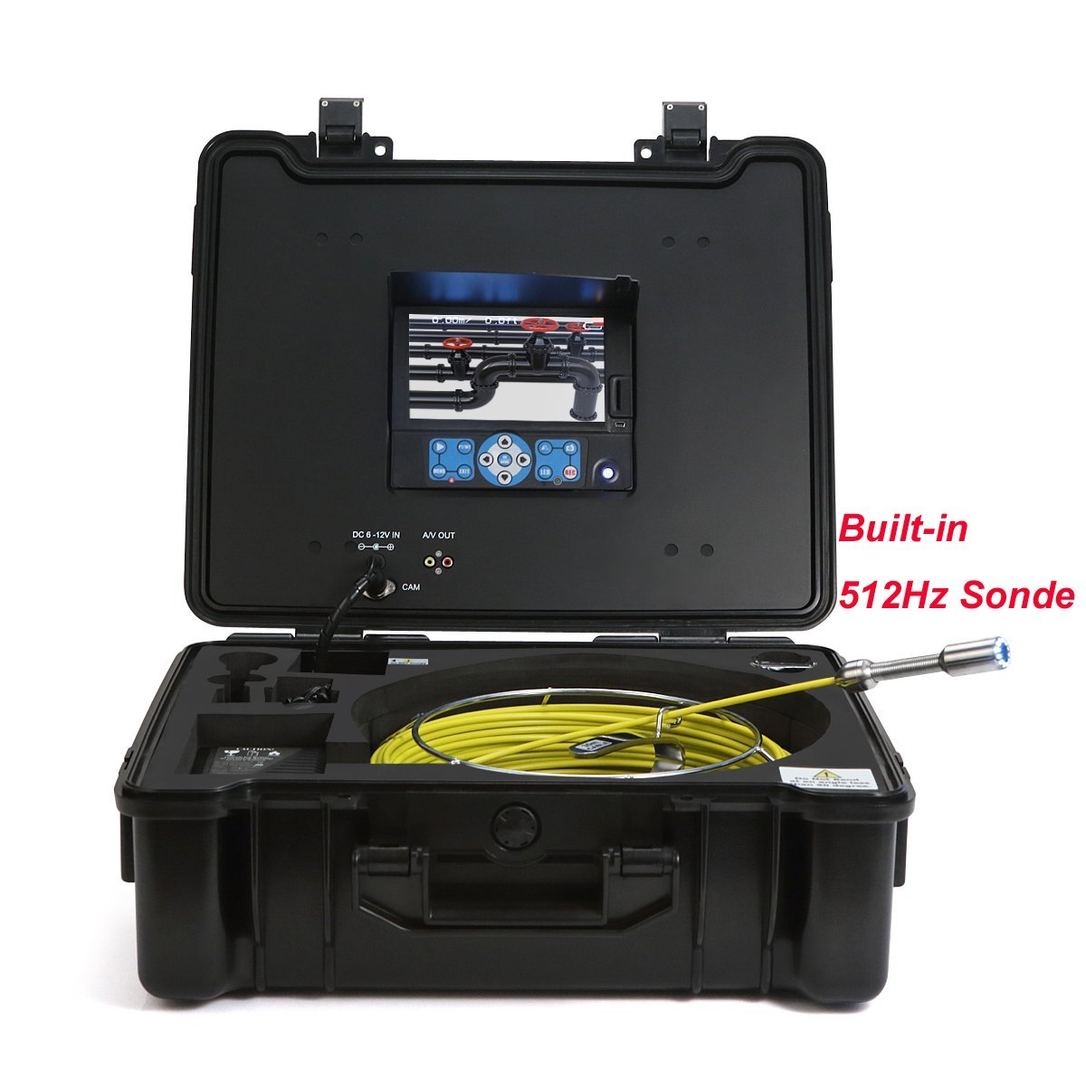 GooQee Sewer Inspection Camera Drain Pipe - Sony CCD Head Underwater 20m - 130ft Fiberglass Push Cable - 7inch DVR with 8G SD Card - PIC003 (40m + Distance Counter + Sonde)