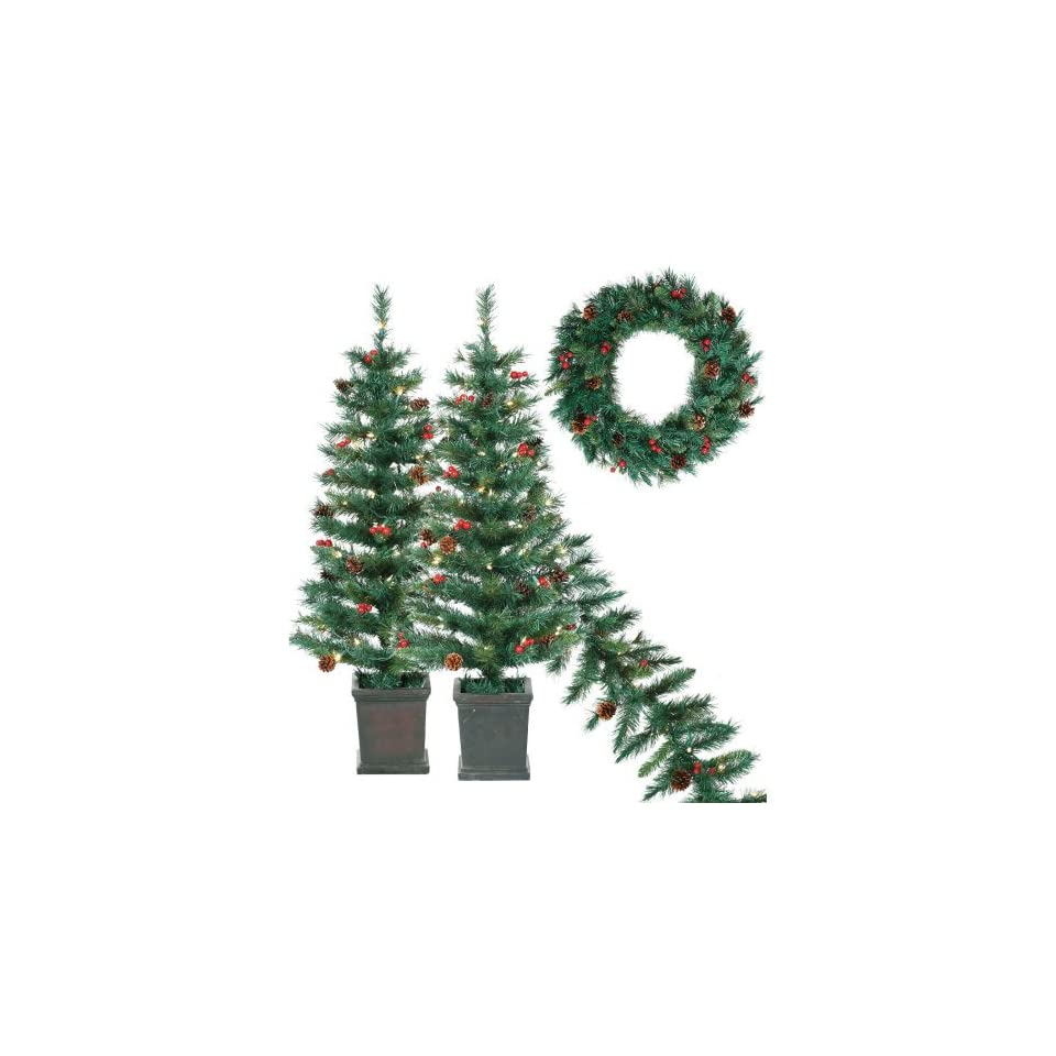 Potted (2) 3.5 ft. Pre Lit Tree Pre Lit Garland and UnLit 24in. Wreath Collection